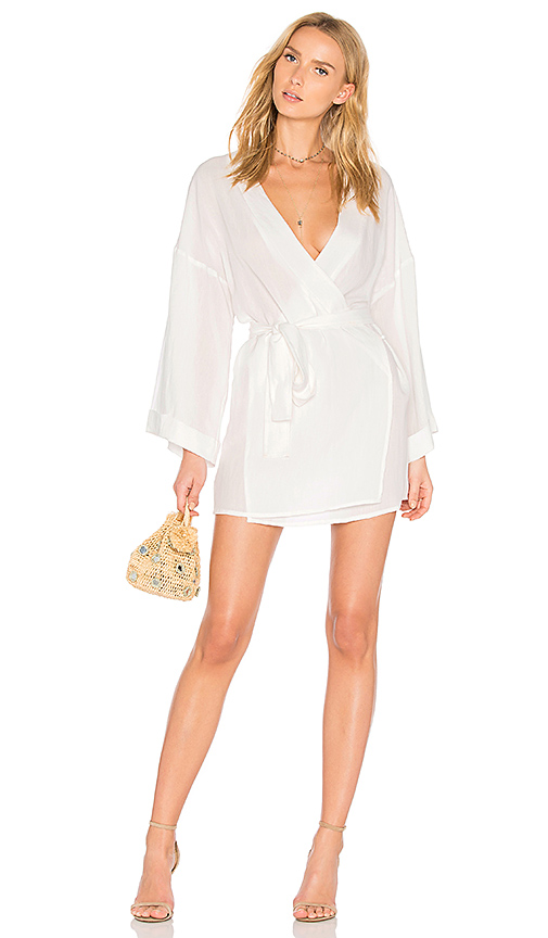 LIONESS San Miguel Wrap Dress in White. - size L (also in M,S,XS)
