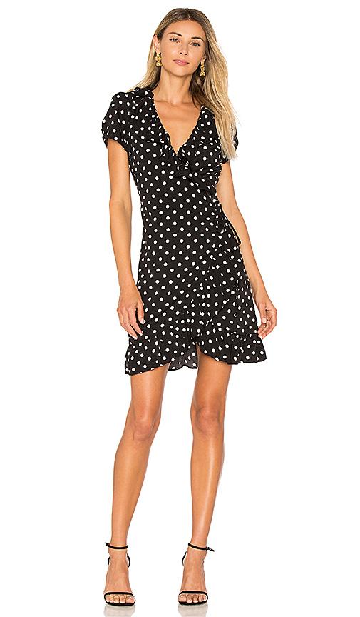 LIONESS Birkin Wrap Dress in Black. - size L (also in M)