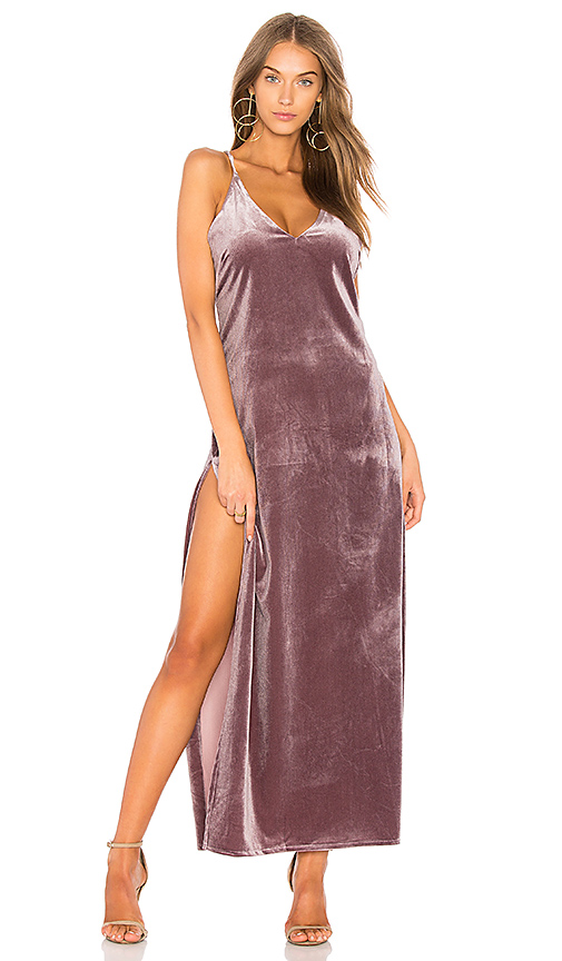 LIONESS Don't Be Jealous Velvet Maxi Dress in Pink