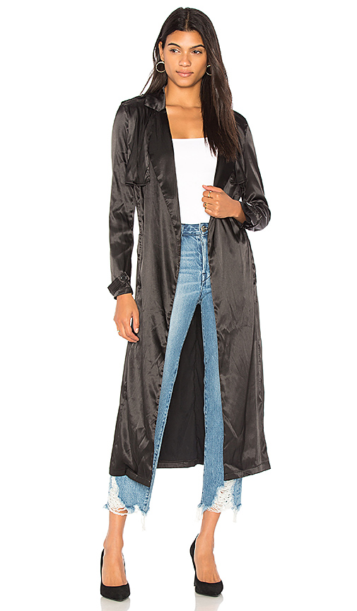 LIONESS Grand Entrance Trench Coat in Black