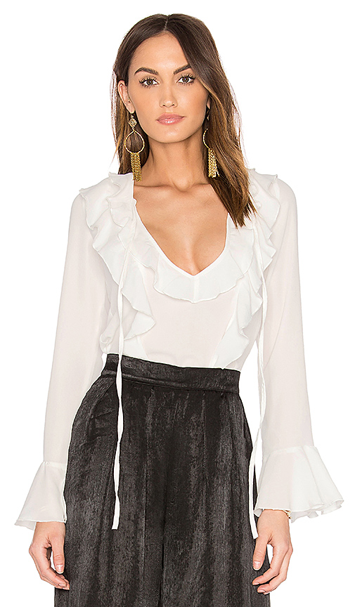 LIONESS Fontana Ruffle Top in White