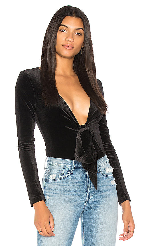 LIONESS Shameless Velvet Bodysuit in Black
