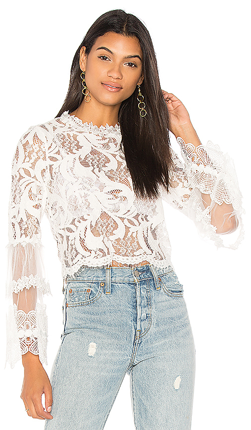 LIONESS Chancellor Lace Top in White