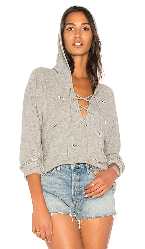 Lauren Moshi Cali Emoji Eyes Lace Up Hoodie in Gray. - size L (also in M,S,XS)