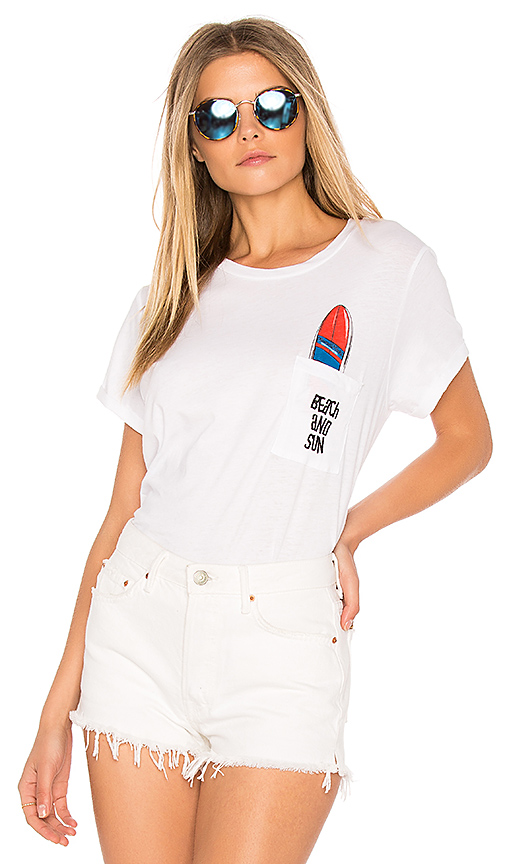 Lauren Moshi Cecille Pocket Tee in White