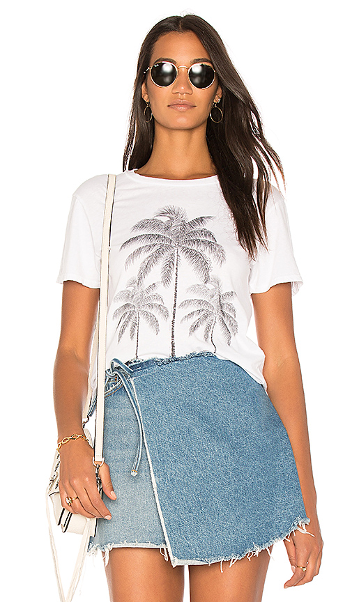 Lauren Moshi Evie Palm Crop Tee in White