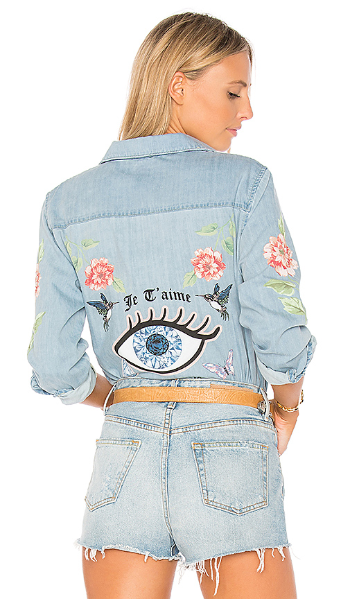 Lauren Moshi Sloane Love You Forever Rose Denim Shirt