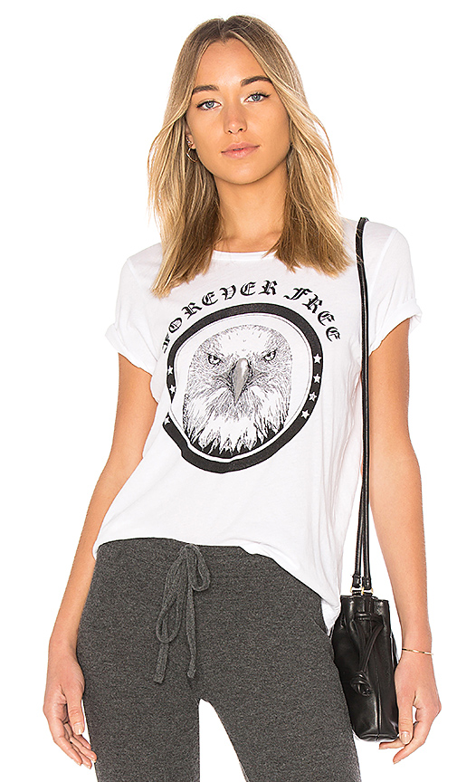 Lauren Moshi Croft Vintage Forever Free Tee in White