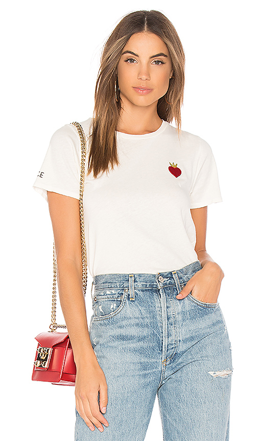 Lauren Moshi Croft Vintage Peace Love Tee in White