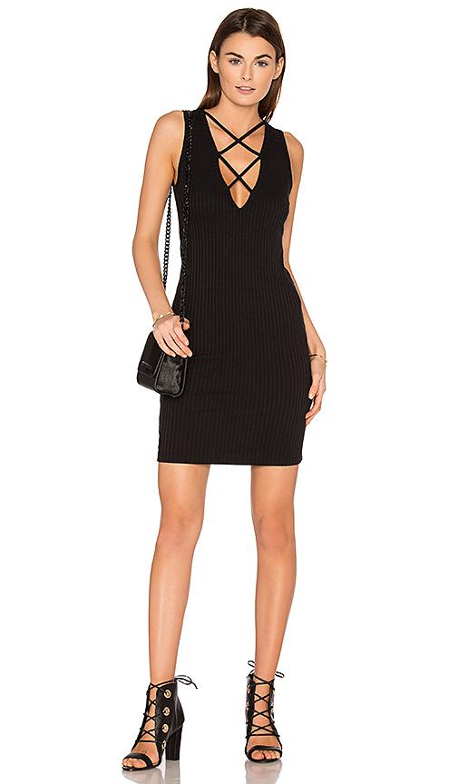 LNA Lace Up V Dress in Black