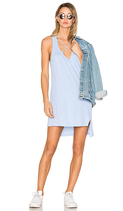 LNA Cross Strap Tank Dress in Baby Blue