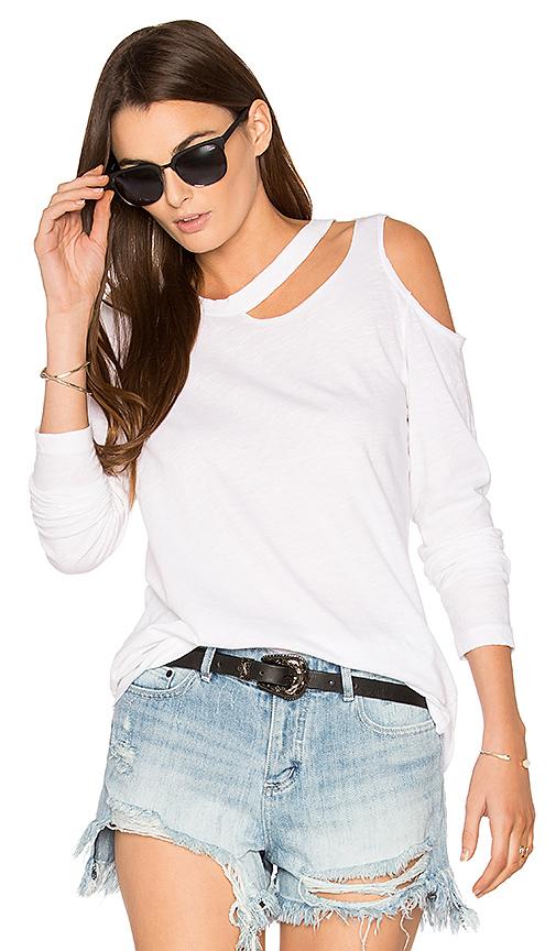 LNA Long Sleeve Slash Tee in White