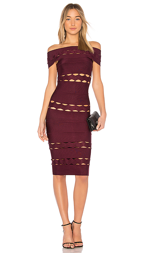LOLITTA May Off the Shoulder Dress in Burgundy