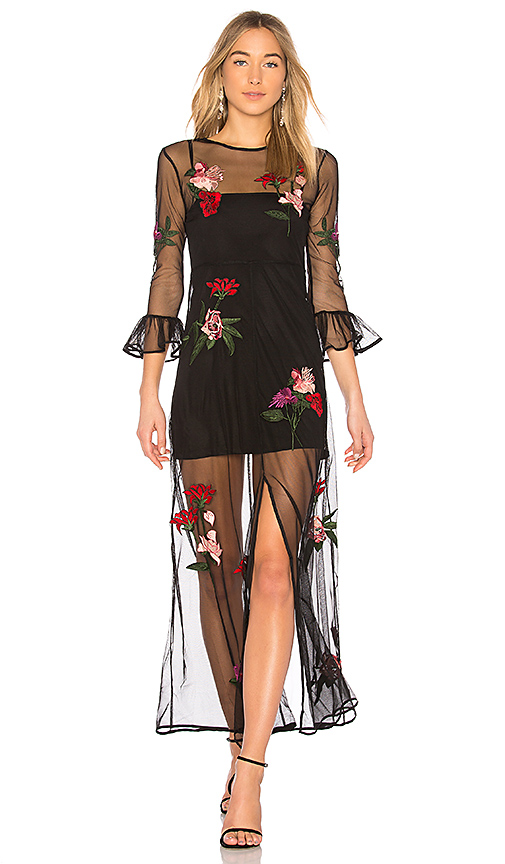 Lovers + Friends Tallon Embroidered Maxi in Black. - size XXS (also in XS,S,M,L)