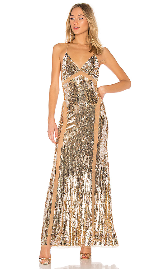 Lovers + Friends x REVOLVE Loyal Gown in Metallic Gold