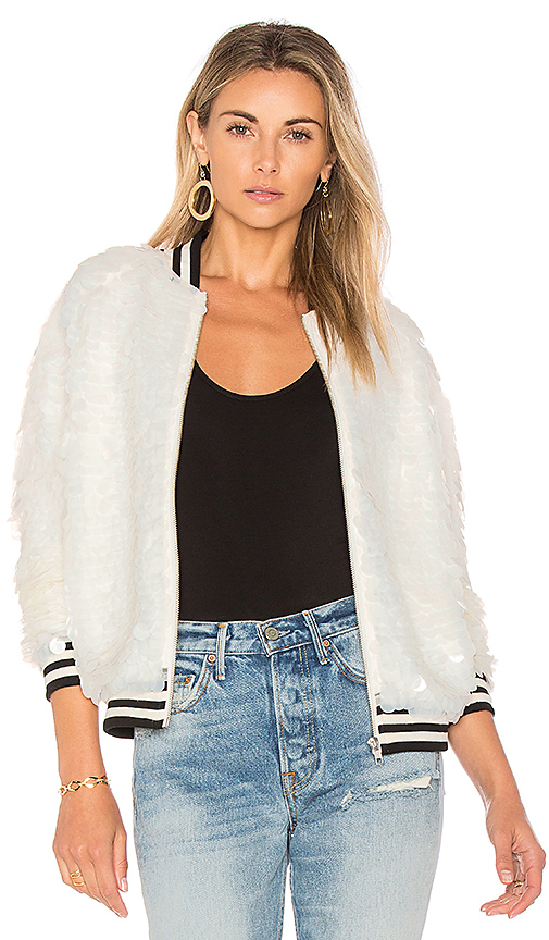Lovers + Friends x REVOLVE The Going Out Sequin Bomber in Ivory