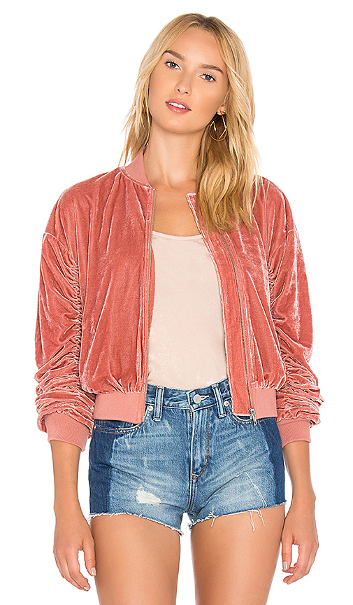 Lovers + Friends x REVOLVE The Leighton Bomber in Rose