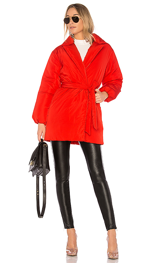 Lovers + Friends x REVOLVE Calla Lily Belted Puffer in Red