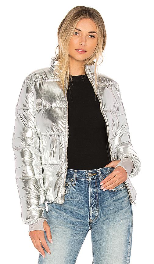 Lovers + Friends x REVOLVE Edelweiss Puffer in Metallic Silver