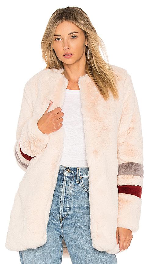 Lovers + Friends Oakley Fax Fur Coat in Blush