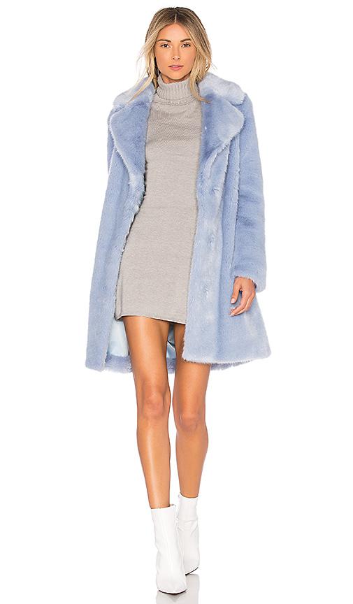 Lovers + Friends Romy Faux Fur Coat in Blue