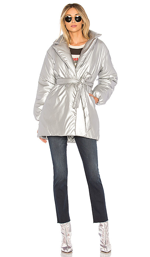Lovers + Friends Calla Lily Belted Puffer in Metallic Silver