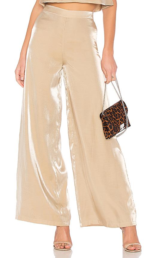 Lovers + Friends Zoey Wide Leg Pants in Metallic Gold. - size S (also in L,M,XL, XS, XXS)