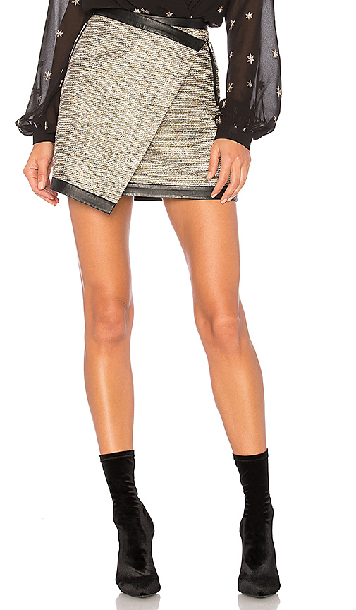 Lovers + Friends Riley Skirt in Metallic Neutral. - size L (also in S,XS,M)