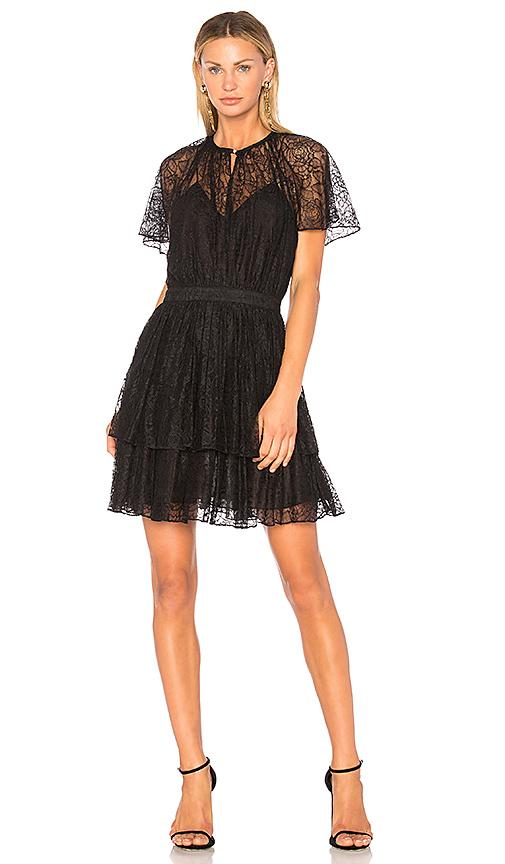Lover Plume Lace Mini Dress in Black