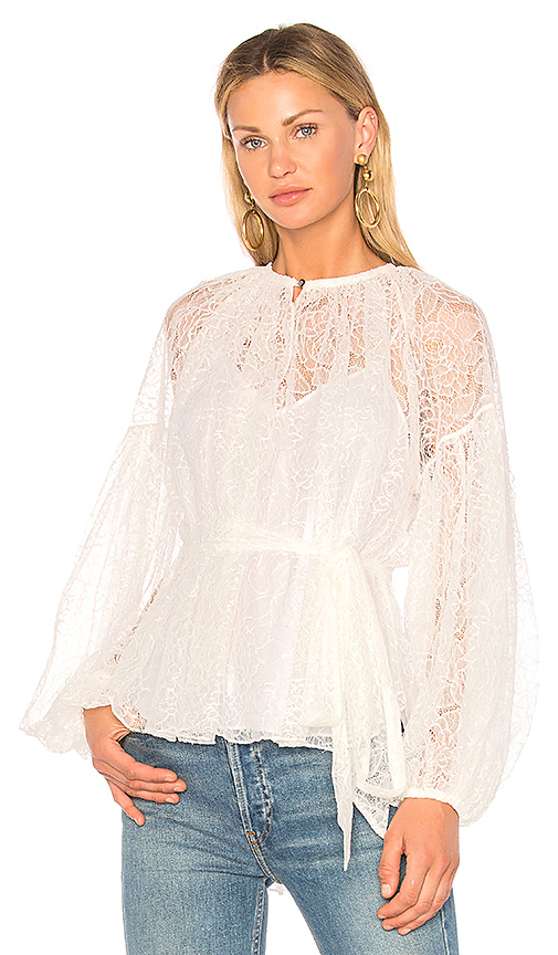 Lover Plume Lace Blouse in Ivory