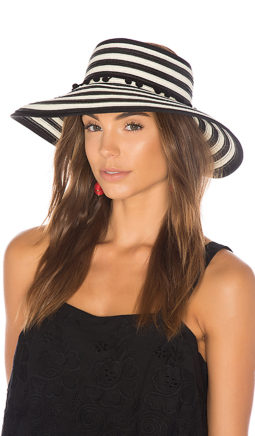 L*SPACE Lewis Stripe Roll Up Hat in Black