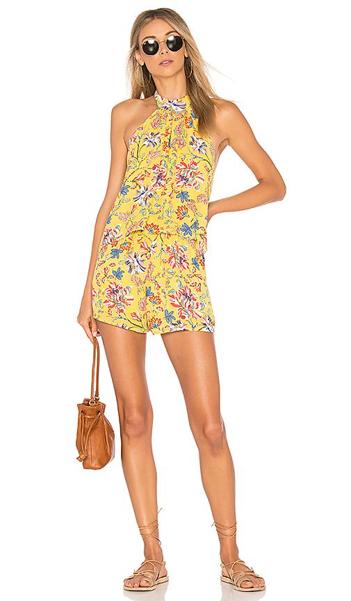 L*SPACE Kelly Pacific Bloom Romper in Yellow. - size L (also in M,S,XS)