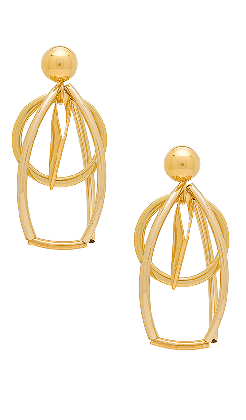 LARUICCI Caged Circle Earrings in Metallic Gold