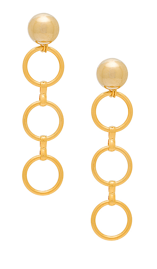 LARUICCI Linked Circle Earrings in Metallic Gold.