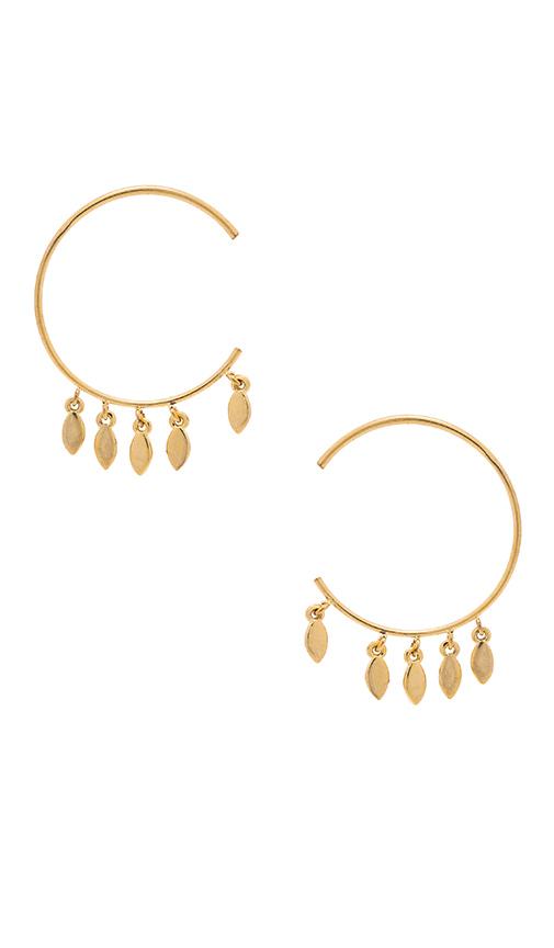 Luv AJ Marquise Swing Through Hoops Earring in Metallic Gold