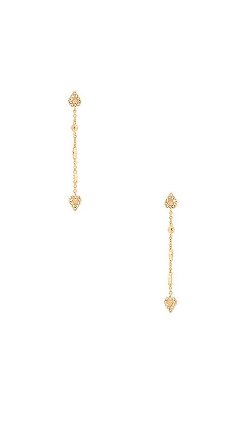 Luv AJ Moonstone Chain Drop Earrings in Metallic Gold.