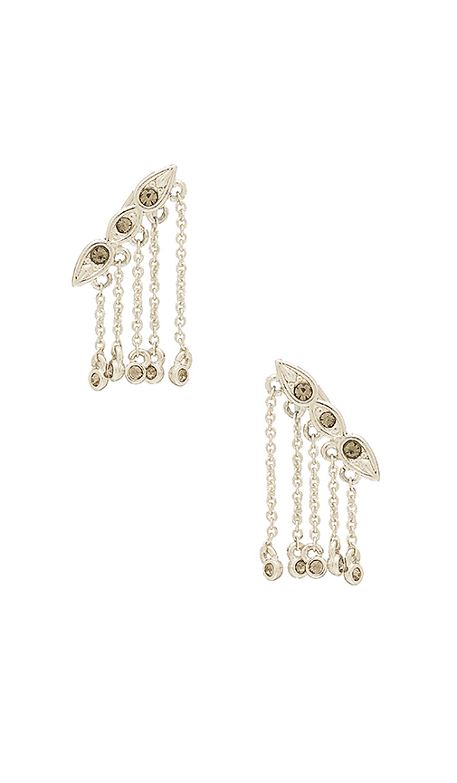 Luv AJ Posie Dangle Crawler Earrings in Metallic Silver