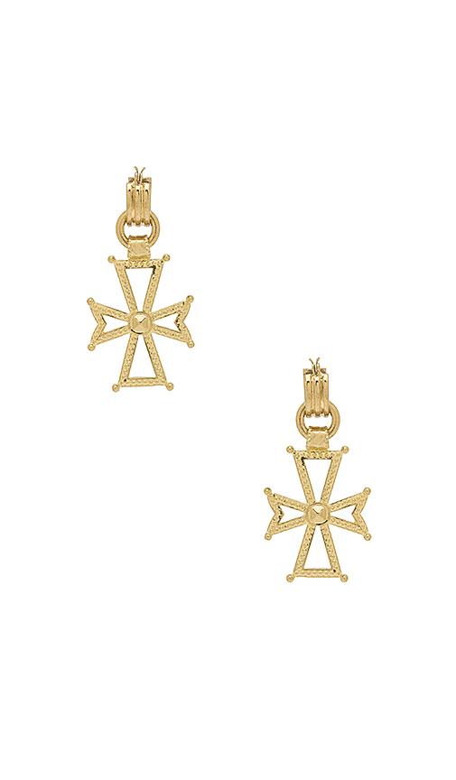 Luv AJ x SABO LUXE Mattan Cross Statement Hoop Earrings in Metallic Gold
