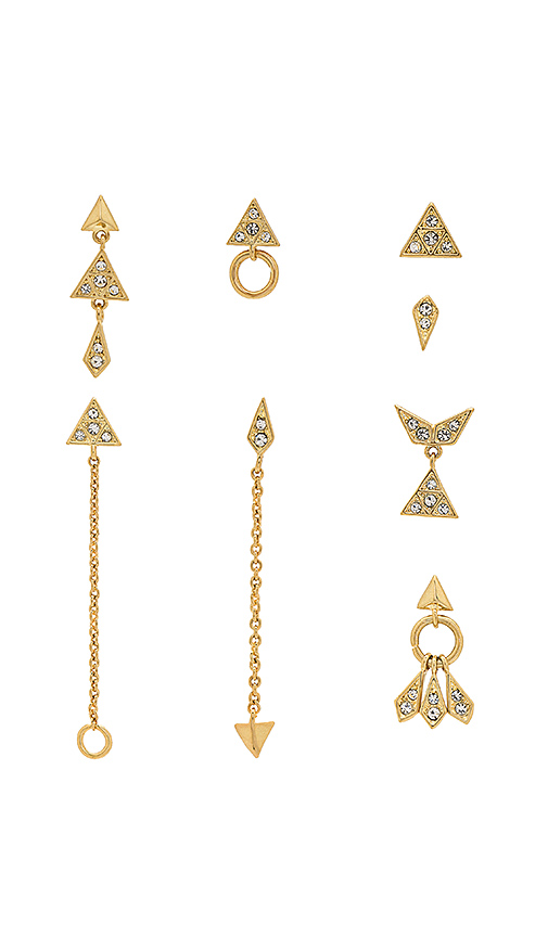 Luv AJ The Pave Kite Mixed Earring Set in Metallic Gold