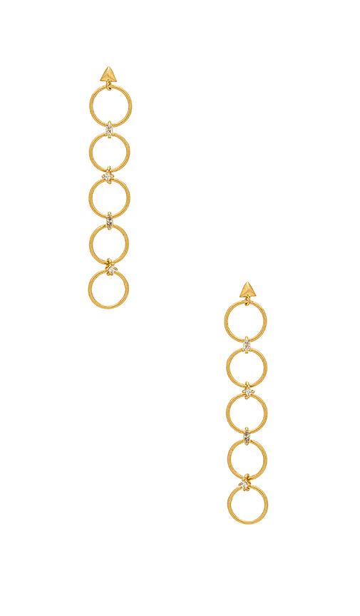 Luv AJ The Scattered Gem Loop Earrings in Metallic Gold