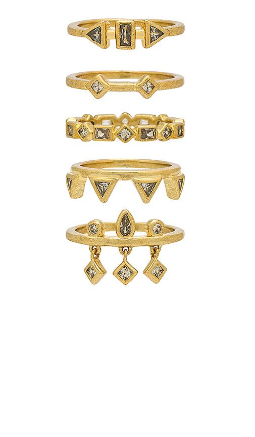 Luv AJ The Medley Stone Ring Set in Metallic Gold