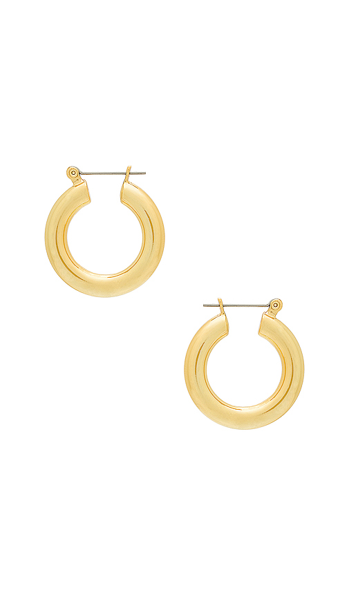 Luv AJ The Baby Amalfi Tube Hoops in Metallic Gold.