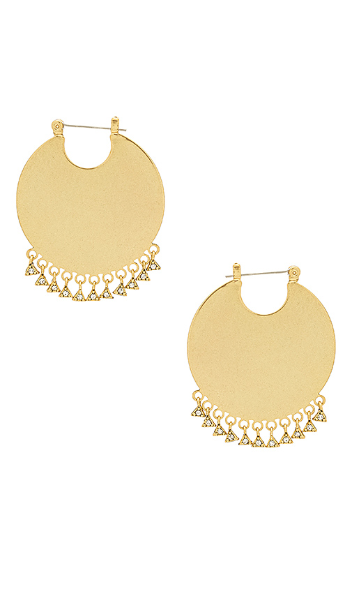 Luv AJ The Dangle Disc Hoops in Metallic Gold