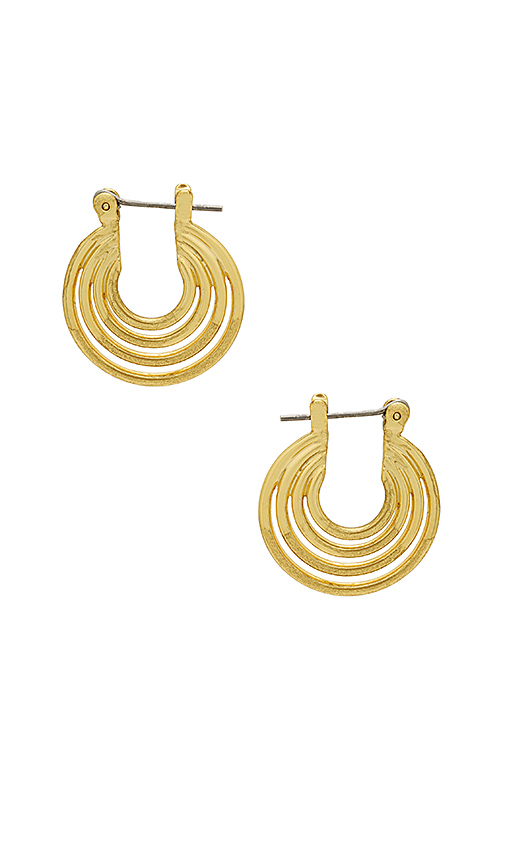 Luv AJ The Multi Hoop Statement Earrings in Metallic Gold.