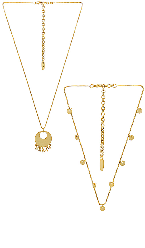 Luv AJ The Double Disco Necklace in Metallic Gold.