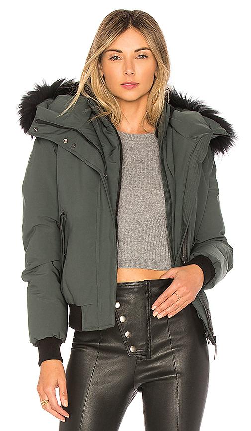 Mackage Britnie Jacket With Asiatic Raccoon Fur in Green
