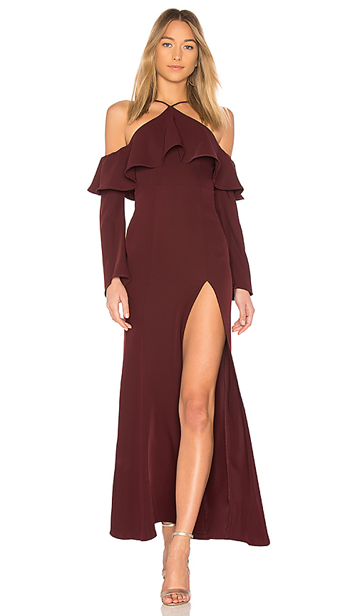 MAJORELLE Carson Dress in Burgundy. - size S (also in L,M,XL, XS, XXS)
