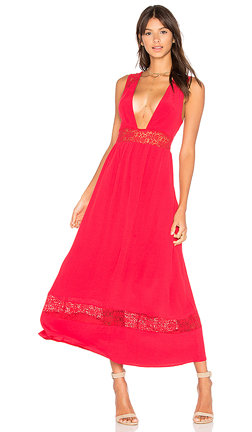 MAJORELLE Pinewood Maxi Dress in Red