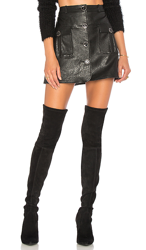 MAJORELLE Envoy Moto Skirt in Black. - size S (also in L,M,XL, XS)