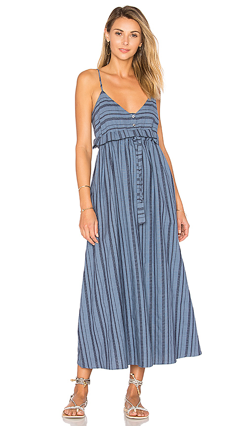 Mara Hoffman Tie Waist Midi Dress in Blue